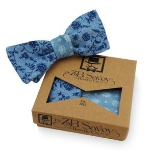 ZB Savoy Floral Sapphire Blue Chambray Bow Tie